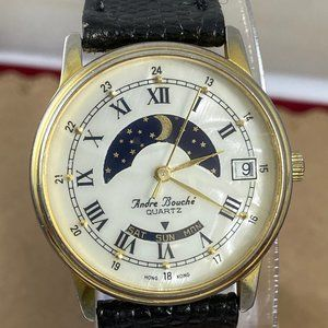 Vintage Andre Bouche Moon Phase Day Date Watch